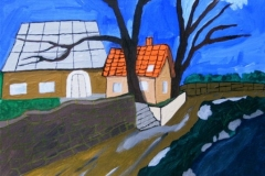 zwei Häuser (Acryl, Leinwand auf Keilrahmen, 40 x 30 cm).