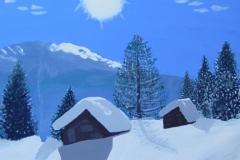.. Schneehütten in den Hochalpen (Acryl, Leinwand auf Keilrahmen, 100 x 70 cm).