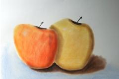 Äpfel, auf Softpastellpaier, Höhe 30 cm, Breite 60 cm